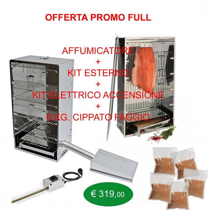oferta completa al aire libre kit fumador, kits de iniciación y 6 Kg.Cippato