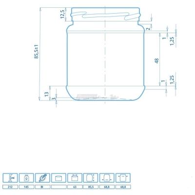 Tarro de vidrio para Alimentos 212 gr cierre TO 63 mm